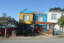 blue yellow house